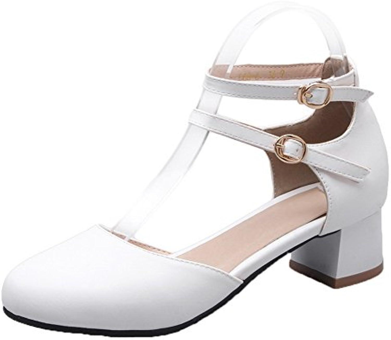 AgooLar Femme Boucle Matière Rang Souple Bouton Double Rang Matière Chaussures LégeresB07D6KJ1KMParent 34bcfe