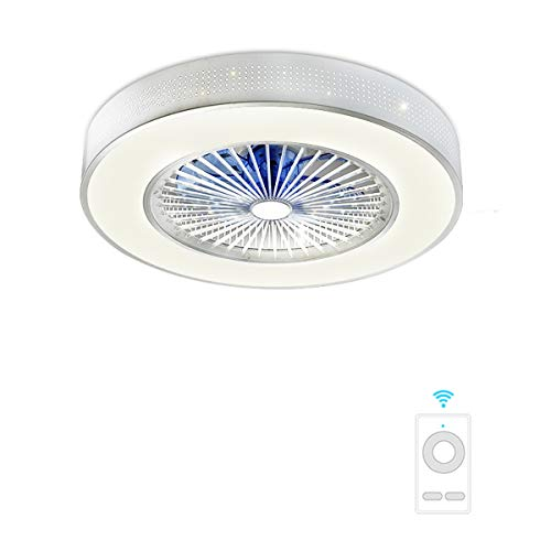 Fan ceiling light Lxn Invisibilità Soffitto Ventilatore Luce con Telecomando Moderno LED Lampadario Interna Soggiorno Creativo Soffitto Minimalista Droplight,Argento - Diametro 58cm