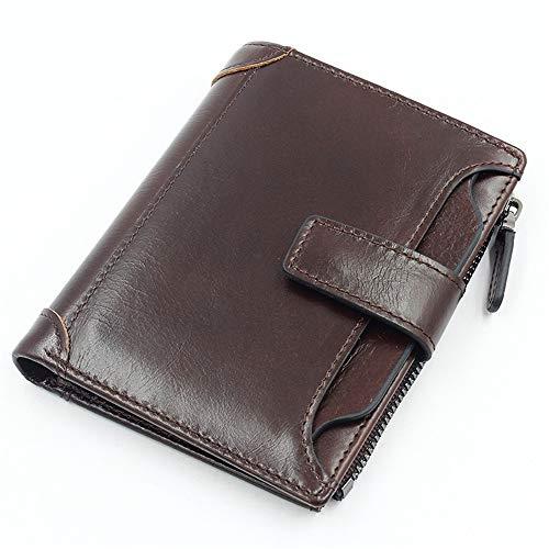 Vertikale Lederbrieftasche braun 95mm * 125mm * 20mmRobustes doppeltes Falten - Visitenkartenhalter - Münztasche - Box usw. für mehrere Zwecke -