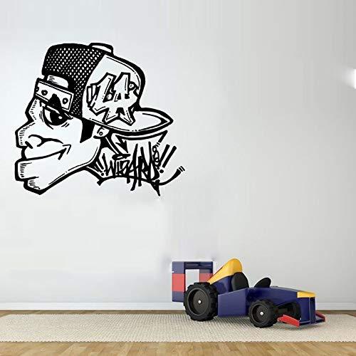 ljradj Graffiti Guy Gesicht Kopf Personalisierte Name Wandaufkleber Für Wandbilder Wohnzimmer Decor Vinyl Tapete Aufkleber Jungen Schlafzimmer rot 84X105 cm