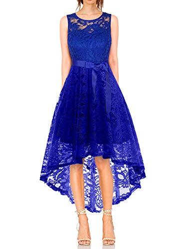 KT-SUPPLY Damen Elegant Schwingendes Kleid aus Spitzen Asymmetrisch Ärmellos Unregelmässig Abendkleider Festlich Cocktailkleider Ballkleid Pinup Rockabilly Party Brautjungfern Kleid Royalblau L