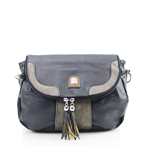 LeahWard Damen Quaste Umhängetasche Urlaub Schultertaschen Handtaschen 750 (Dunkelblau) - Chloe Hobo