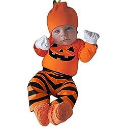Monos Bebe Recién Nacido,❤️ Modaworld Monos de Mameluco Infantil para niñas niños bebés y Pantalones a Rayas Conjunto de Trajes de Halloween