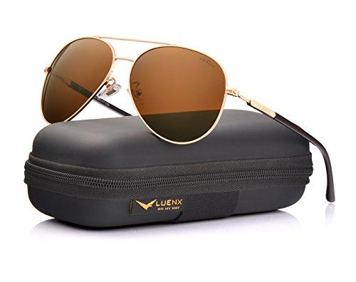 (LUENX Herren Sonnenbrille Aviator Polarisiert mit Etui - UV 400 Schutz Braun Linse Gold Rahmen 60mm)