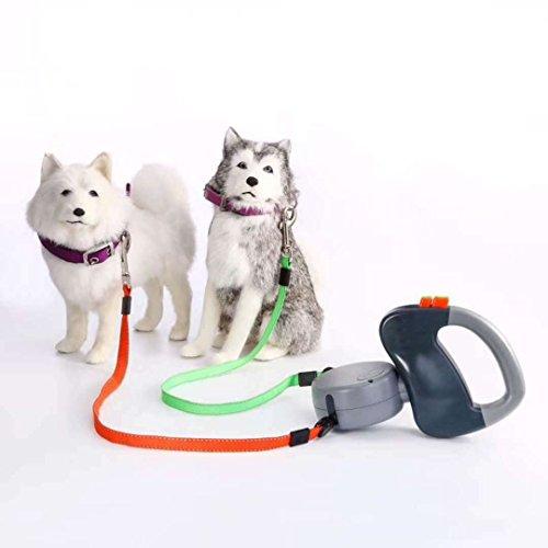 Einziehbare Hundeleine für 2Hunde, Doppelleine, 3 m lange Hundeleine mit Ein-Knopf-Stoppen-&-Schließen-System, für kleine, mittelgroße und große Hunde bis zu 22,5 kg, kein Verheddern