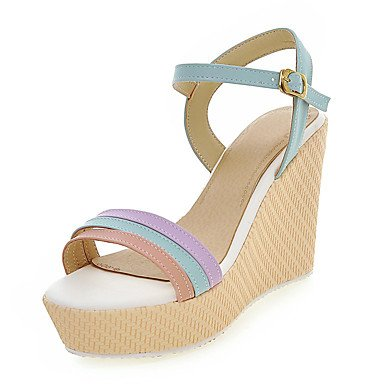 LvYuan Da donna-Sandali-Ufficio e lavoro Formale Serata e festa-Club Shoes-Zeppa-Finta pelle-Blu Rosa Viola Beige beige