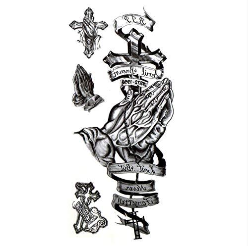 Wenshen 5 pezzi di preghiera e di perdono per croce tatuaggi temporanei impermeabili uomini tatuagem tatuaggio all'hennè autoadesivo temporaneo tatoo festival
