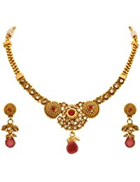JFL - Traditional Ethnic One Gram Gold Plated Diamond Designer Necklace Set With Earring For Women & Girls.