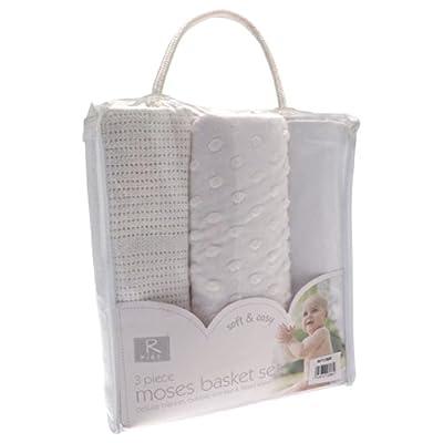 3pc White Moses Basket Set Baby Bedding Kit * Cellular Blanket Bubble Blanket Fitted Sheet