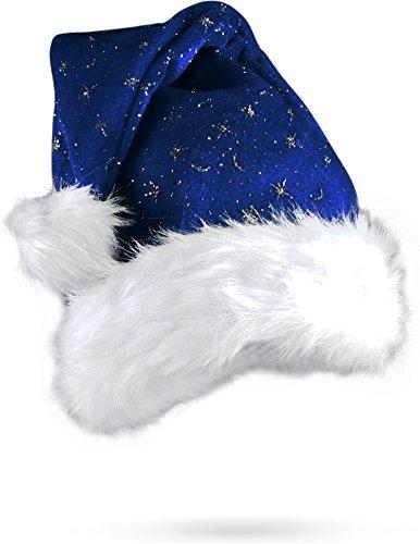 olausmütze mit Pelzrand und Glitzer Farbe Blau (Flauschige Nikolausmütze)