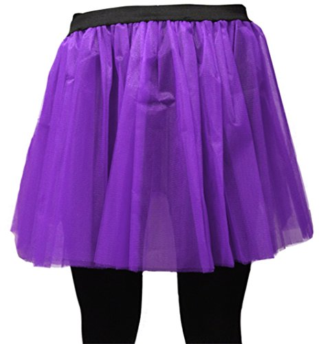 A-Express Damen Lange 36cm Tütü Rock Neon Tutu Netz Tüllrock 3 Lagen Petticoat für verrücktes Kleid Party Kostüm - (Lila, Größe 34-44) (Lila Tutu Kostüm)