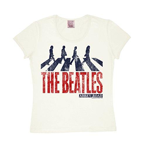 Frauen T-Shirt The Beatles - Vintage Abbey Road - Fab Four - Shirt Pilzköpfe - Rundhals Shirt von LOGOSHIRT - altweiß - Lizenziertes Originaldesign, Größe M (Beatles-vintage-t-shirt Die)