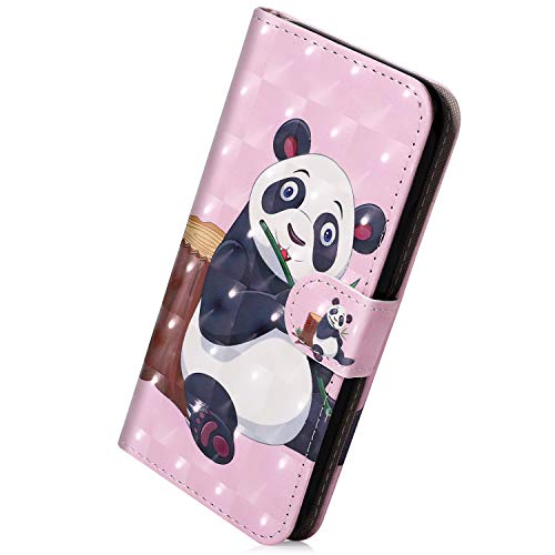 Hülle Kompatibel mit Samsung Galaxy J7 2018 Handyhülle Bunt Lustig Muster Leder Hülle Brieftasche Ledertasche Book Case Klapphülle Handytasche Flip Case Cover,Karikatur Panda