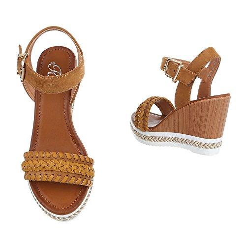 Keilsandaletten Damenschuhe Plateau Keilabsatz/ Wedge Keilabsatz Schnalle Ital-Design Sandalen / Sandaletten Camel