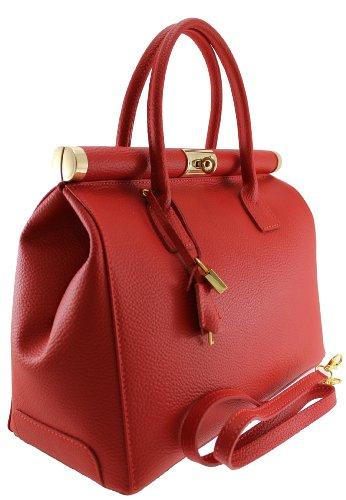 Chicca Tutto Moda Borsa Bauletto da Donna Elegante con Manici e Tracolla in Vera pelle Made in Italy 35x28x16cm Rosso