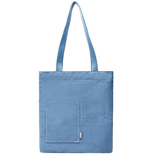 Bedolio Casual Canvas Tasche literarische Umhängetasche Damen einfarbig einfache Canvas Tasche, blau