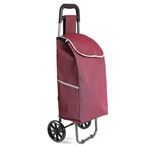 Leichter Faltbarer Einkaufswagenkoffer Koffergepäck 2 PU-Rad Ergonomischer Griff Klappzugwagen Oxford Tuch Einkaufstasche Wagen Große Kapazität 30L Gewicht: 2kg in Lila Rot
