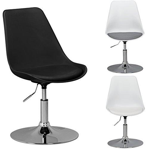 AMSTYLE KORSIKA | Drehsessel mit Kunstleder-Sitzfläche in Schwarz | Drehstuhl ist höhenverstellbar | Drehhocker mit Rückenlehne | Besucherstuhl mit Schalensitz