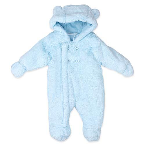 Baby Town Baby Schneeanzug Overall Jungen | Farbe: blau | Baby Winteranzug mit Kapuze und Handschuhen für Neugeborene & Kleinkinder | Größe: Newborn (50/56)