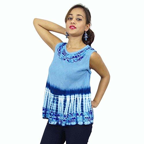 Indian Top Tunique manches rayonne brodés ligne de cou femmes portent Kurti Bleu