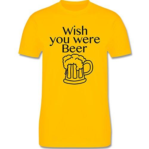 Oktoberfest Herren - Wish you were Beer Bierkrug - Herren Premium T-Shirt  Gelb