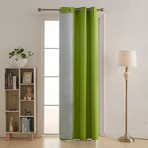 Deconovo tenda termica isolante in tessuto oxford con occhielli per soggiorno verde 140x260cm un pannello