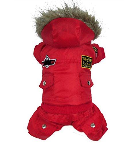 selmai Wintermantel für mittelgroße Hunde mit Kapuze USA air-force Pet Trench Coat Hund Overall Schneeanzug Bekleidung (dieser Style Run klein, wählen Bitte eine Größe größer)