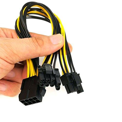 CICIYONER 25cm PCI-e 8pin zu Dual 8Pin / PCIe 8pin-2x (6 + 2pin) Grafikkarte Stromkabel (25cm, Gelb) (Vertikale Adapter)