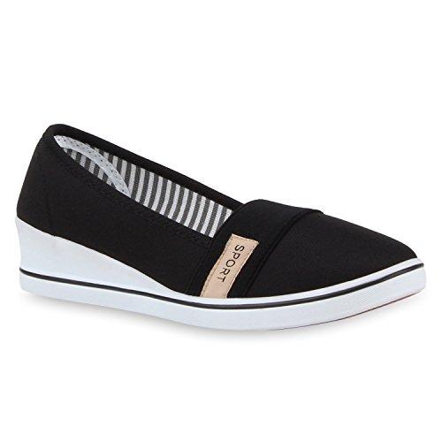Damen Keilpumps Wedges Canvas Schuhe Pumps Keilabsatz Schwarz