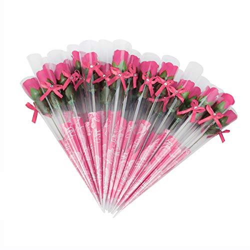 Weiye 38pcs -, mit Duft, Seife mit Nelke Blume Bad Seife Rose Blume (frei von Konservierungsstoffen --Öl Seife, Geschenk für Jahrestag/Geburtstag/Hochzeit/Valentinstag/Muttertag Geschenk - Pink a -