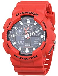Casio G-Shock Analog-Digital Herren-Armbanduhr GA-100B rot, 20 BAR