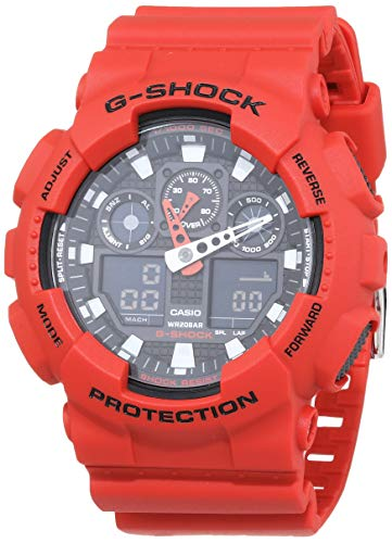 Casio G-Shock Analog-Digital Herren-Armbanduhr GA-100B rot, 20 BAR