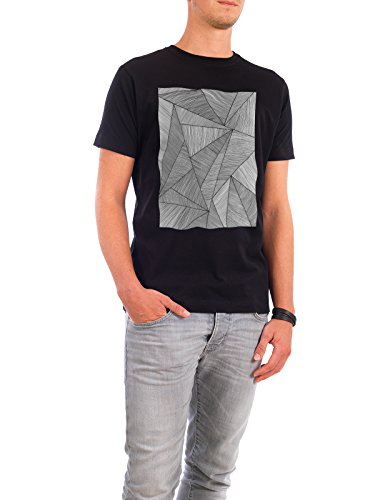 "Design T-Shirt Männer Continental Cotton ""Black Triangle Lines"" - stylisches Shirt Abstrakt Geometrie Natur von Sarah Plaumann Schwarz"