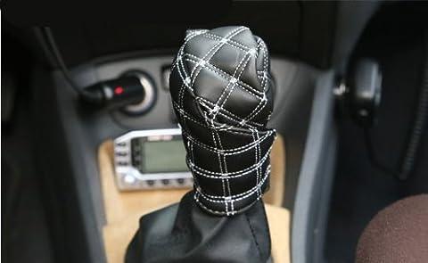 ewinever(TM) Car Auto Automatic Decoration Gear Shift Handbrake Hand Brake Cover Grid Pu Cover Set (White Strap)