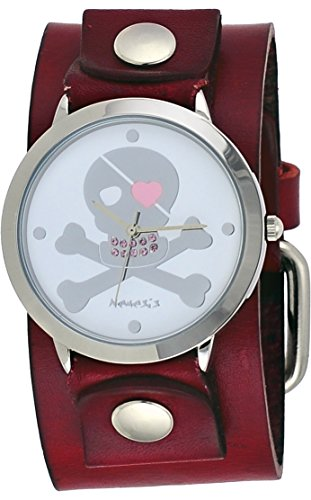 Nemesis #GBR821S Women's Skeleton Cross Bone Pink Teeth Red Wide Cuff Band Watch