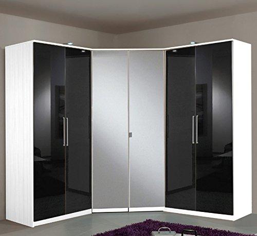 *Eck-Kleiderschrank mit Spiegel »BERLIN« Hochglanz black-alpinweiß*