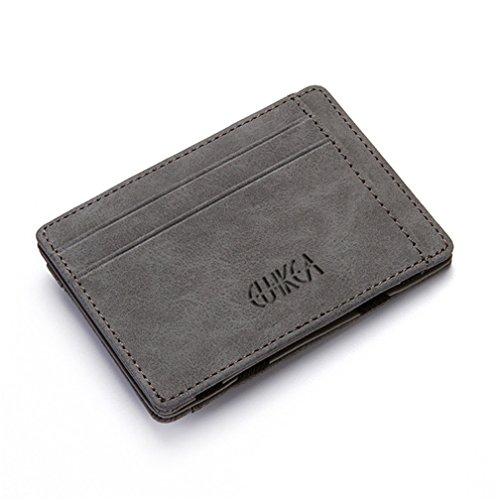 Material: Cuero de la PU, hecho del cuero durable de la calidad  Tamaño: los 10.5cm * 7.5 cm, tamaño adecuado caben su uso diario.  Diseño funcional: 4 ranuras para tarjetas, 1 bolsillo con cremallera, la espalda es cartera mágica, puede mantener su ...