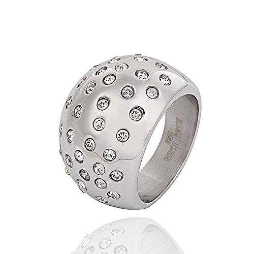 Akkki Ring Rush Chrystal Edelstahl Ringe Damen strass frauen Schmuck silber ring Stein breite Massive Rose 002 L/20