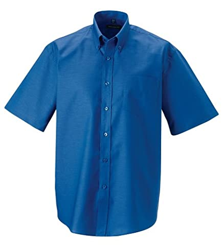 Z933 Short Sleeve Oxford Shirt Overshirt Men's Shirt, Men, Aztec Blue, 4XL