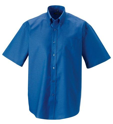 Z933 Kurzärmeliges Oxford Hemd Oberhemd Herrenhemd 6XL / 53/54,Aztec Blue - Klassisches Oxford-hemd Knitterfrei