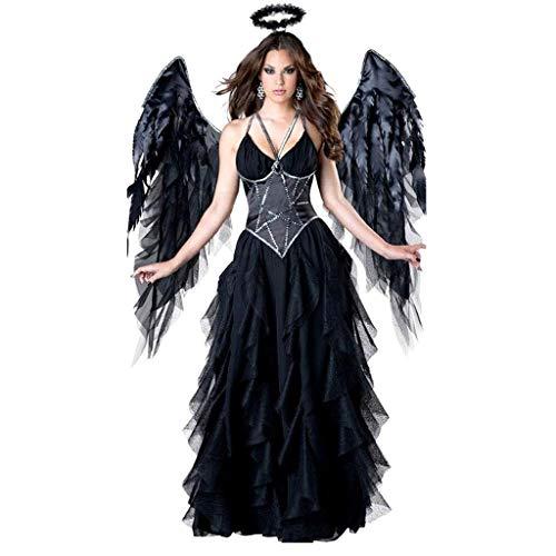 TINGSHOP Halloween Dark Angel Kostüm, Dunkel Fallen Angel Kostüm-Frauen Halloween Schwarz Abendkleid Cosplay Teufel-Partei-Kleid-Flügel Kopfbedeckung Halloween-Karneval-Maskerade-Tulle (Edle Maid Kostüm)