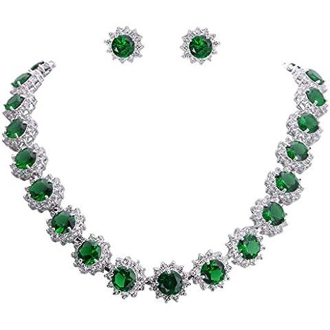 Ever Faith - Elegante collana ispirata a quella di Anne Hathaway, set di collana ed orecchini con zirconi a forma di stella.