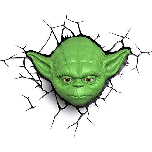 JU FU - Luminaire Applique - Star Wars Yoda Mask 3D Applique Murale Décorative Bureau Etude Chambre Chevet Créatif Personnalité Éclairage @ (Couleur : A)