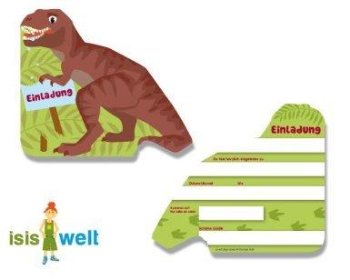 DH-Konzept - Invitaciones para fiesta de cumpleaños infantil (6 unidades, en alemán), diseño de dinosaurio Tyrannosaurus rex