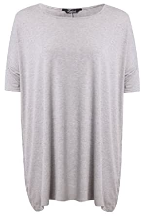 Yoursclothing Plus Size Womens Marl Oversized T-shirt With Short Sleeves Size 20 Grey