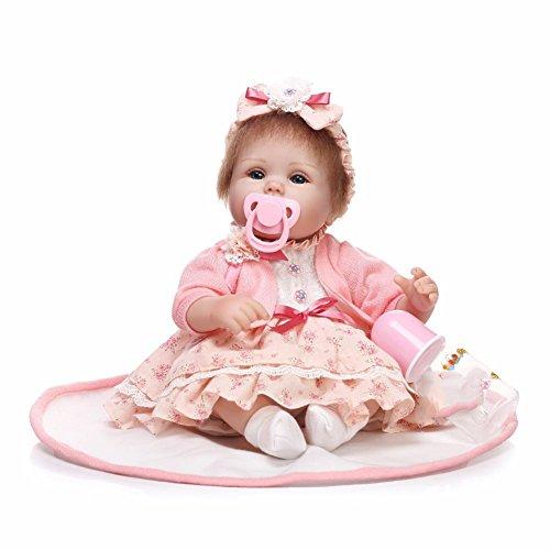 17 Zoll Reborn Baby Puppen Realistisch mit Niedlichem Kleid Nettes Kleid Hand Verwurzeltes Mohair Kind Spiel Spielzeug Festliches Geschenk HOJZ