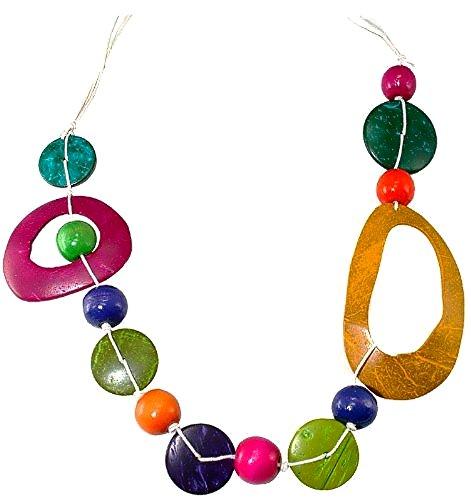 bunte Halskette aus Kokosholz längenverstellbar, Holzkette, Holzschmuck