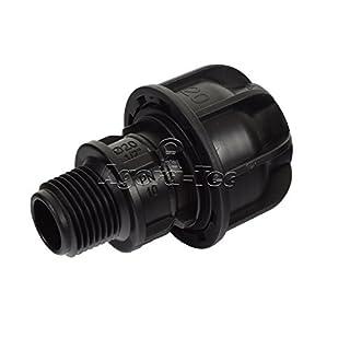 Agora-Tec PE-Fitting Kupplung 20 mm x 1/2 Zoll AG (21 mm) für PE-Rohr 20 mm SCHWARZ