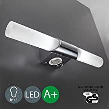 Làmpara LED de pared - Aplique para bano Làmpara de techo - Làmpara de espejo para bano con enchufe - Làmpara de color blanco y cromado con dos luces