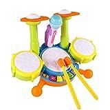TianranRT Kinder Elektro Schlagzeug Bausatz Spielzeug Kleinkind Musikinstrumente Spielset Blitz Licht Spielzeug